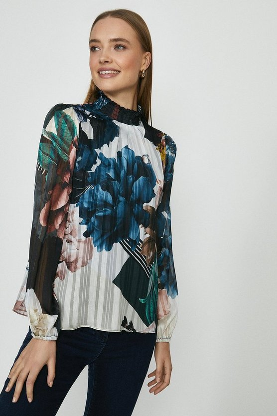 Forest Printed Shirred Blouse With Cami