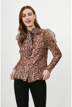 Blush Animal Print Organza Pussybow Blouse
