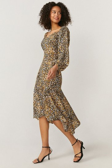 Natural Hanky Hem Puff Sleeve Dress
