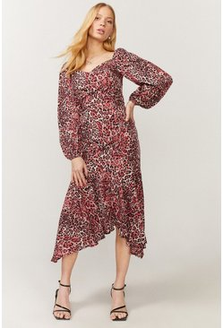 Red Hanky Hem Puff Sleeve Dress