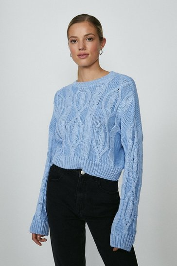 Light blue Knitted Long Sleeve Jumper