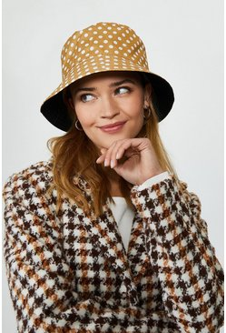 Natural Polka Dot Bucket Hat