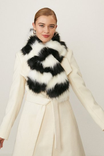 Mono Striped Faux Fur Scarf