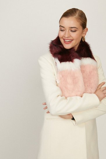 Pink Colour Block Faux Fur Scarf