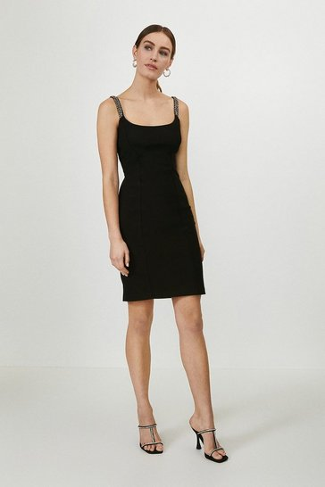 Black Jewel Trim Mini Bodycon Dress