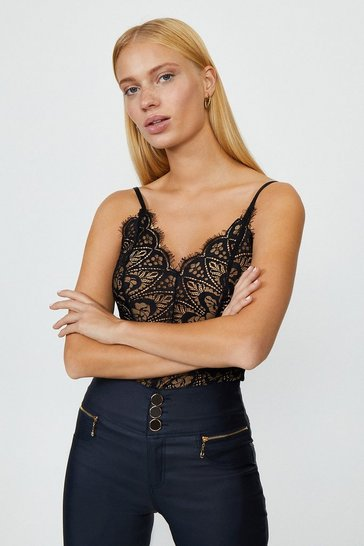 Black Strappy Lace Body