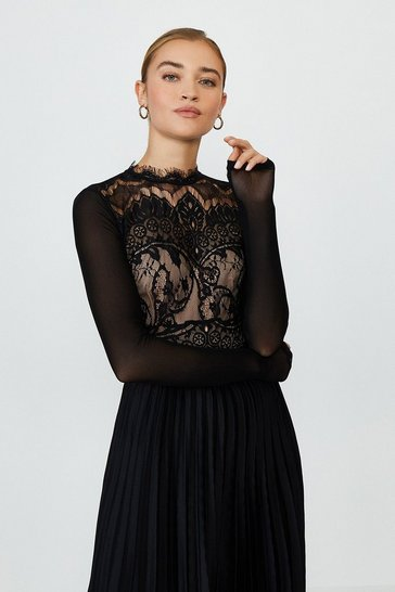 Black High Neck Deco Lace Body