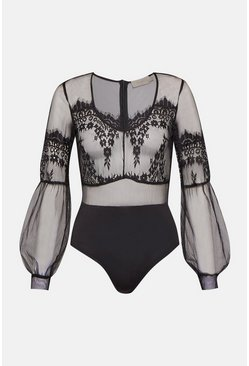 Black Eyelash Lace Body