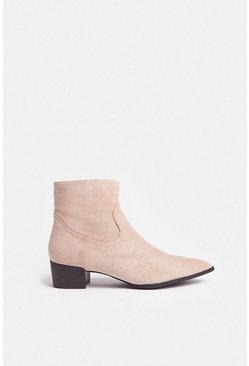 Sand Suedette Ankle Boots