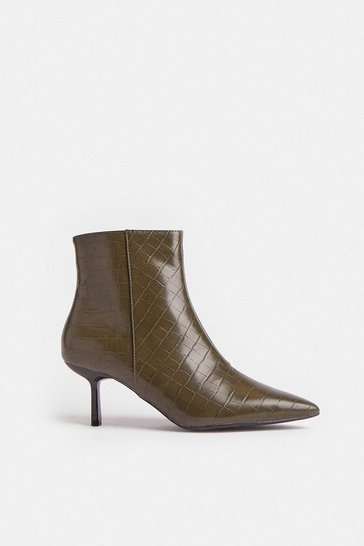 Olive Croc Heeled Pixie Ankle Boot
