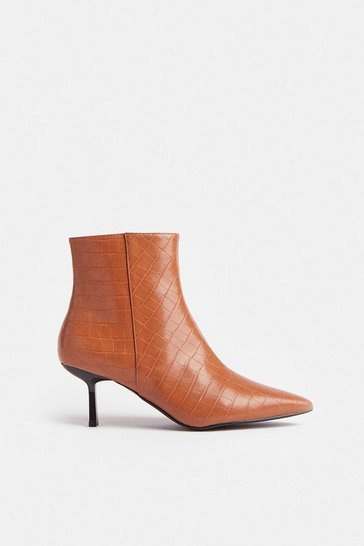 Tan Croc Heeled Pixie Ankle Boot