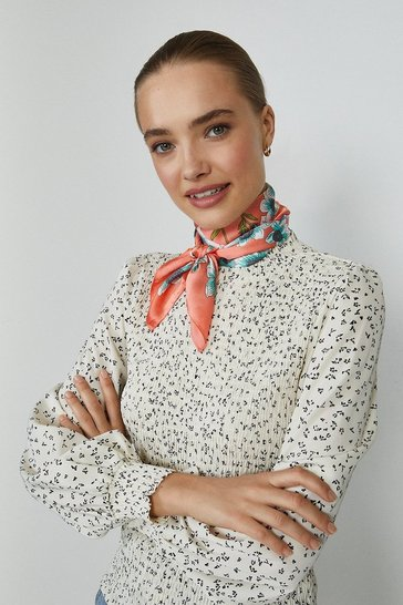 Coral Floral Silk Scarf And Face Covering