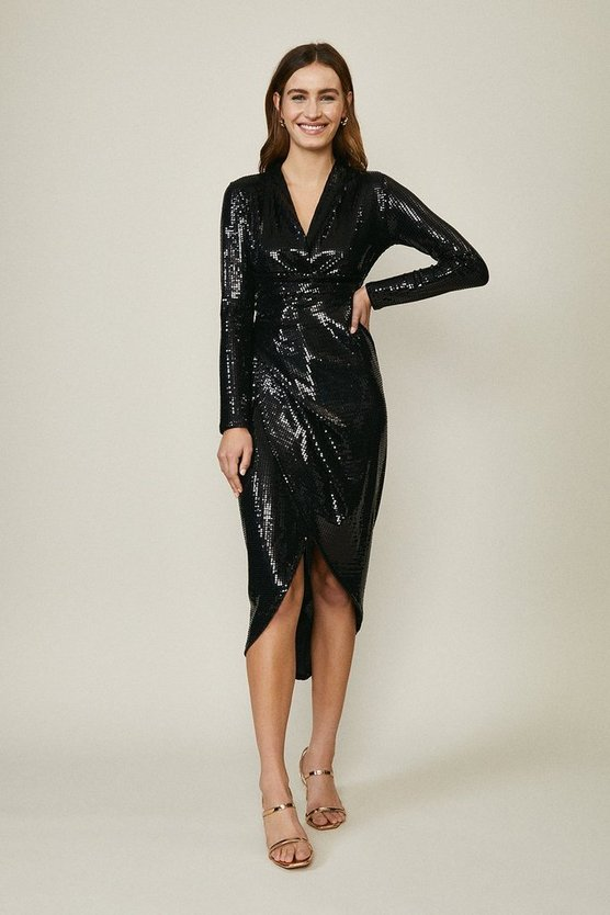 Black Metallic Drape Detail Dress