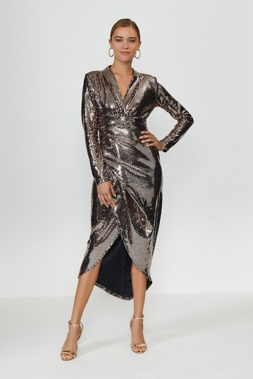 Bronze Metallic Drape Detail Dress