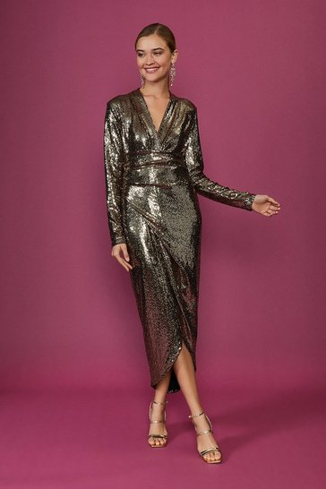 Gold Metallic Drape Detail Dress