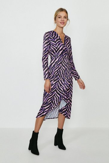 Zebra Printed Jersey Wrap Dress