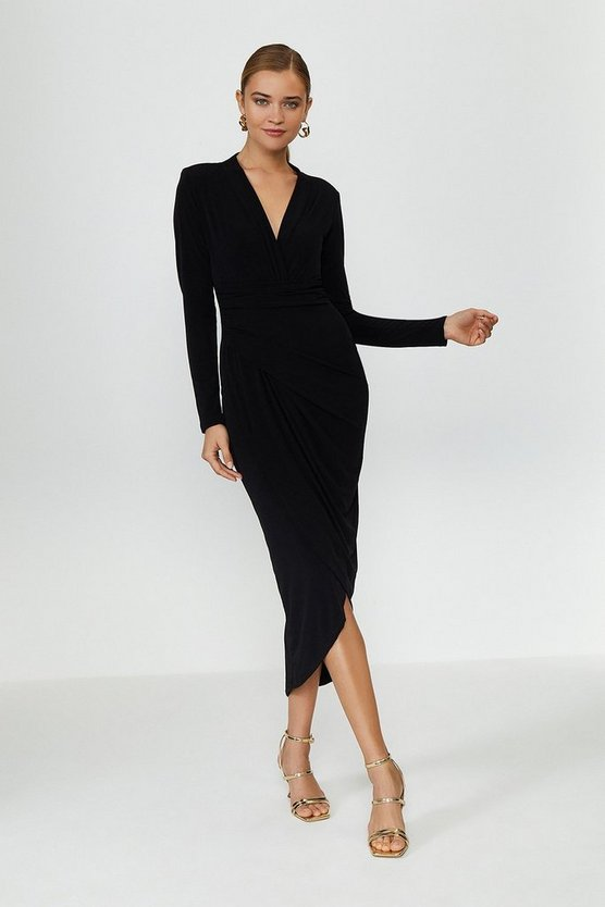 Black Jersey Wrap Front Dress