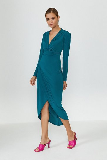 Blue Jersey Wrap Front Dress