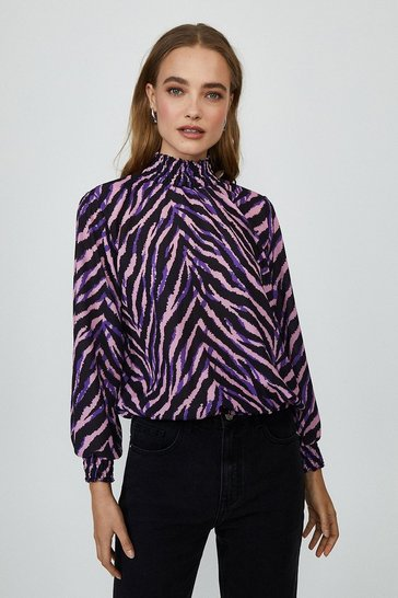 Zebra Shirred Neck Long Sleeve Top