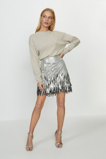 Silver Sequin Tassel Skirt