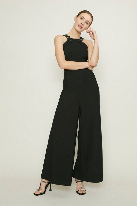 Black Buckle Strap Jumpsuit