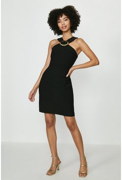 Black Hardware Halterneck Mini Dress