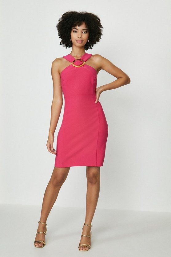 Hot pink Hardware Halterneck Mini Dress