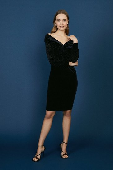Black Velvet Bardot Animal Sleeve Dress
