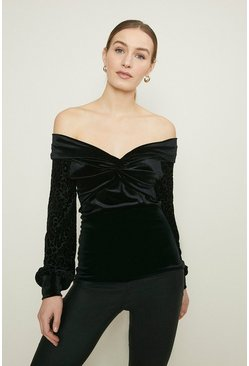Black Velvet Bardot Animal Sleeve Top