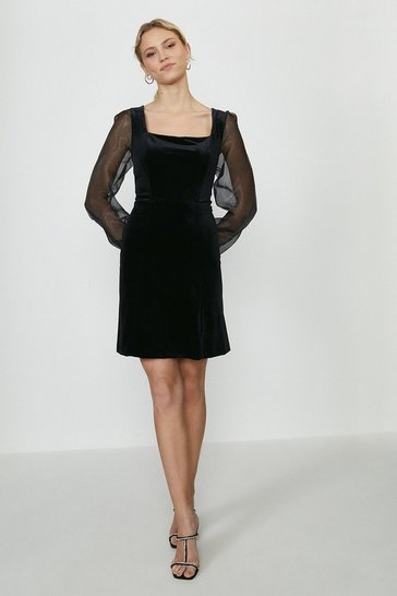 Black Organza Sleeve Velvet A-Line Dress