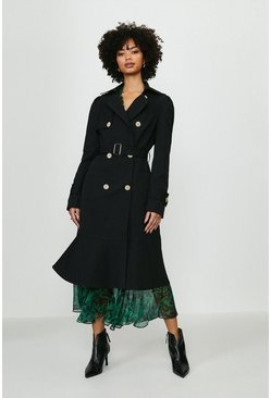 Black Ruffle Hem Belted Trench Coat