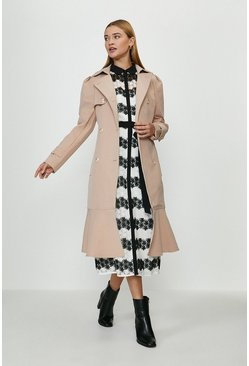 Camel Ruffle Hem Belted Trench Coat