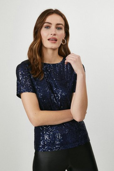 Midnight Short Sleeve Sequin T-Shirt