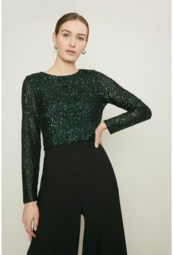 Forest Sequin Long Sleeve Top