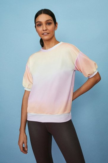 Pastel blue Ombre Puff Sleeve Loungewear Top