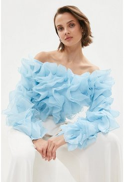 Blue Organza Ruffle Flower Bardot Top