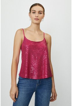 Hot pink Sequin Cami