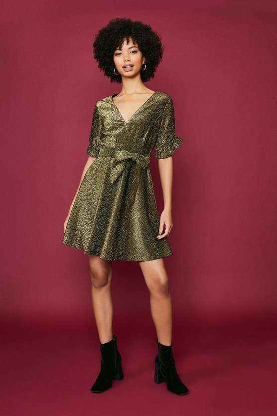 Gold Glitter Jersey Ruffle Tie Waist Dress