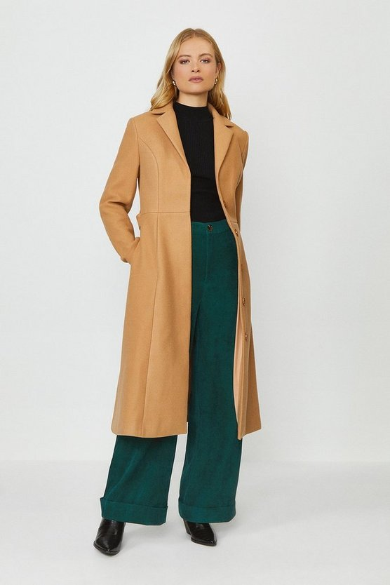 Camel Tailored Belted Coat