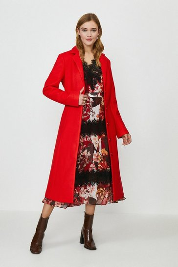 Red Tailored Belted Coat