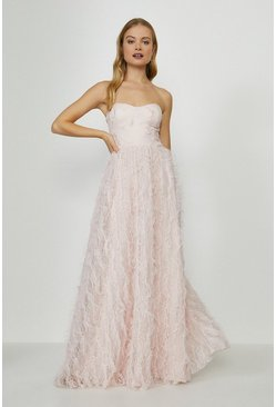 Blush Tulle Bodice Ruffle Dress
