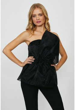 Black Organza Bow Statement Top