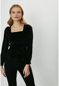 Black Square Neck Velvet Top