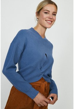 Duck egg Twist Front Knitted Jumper