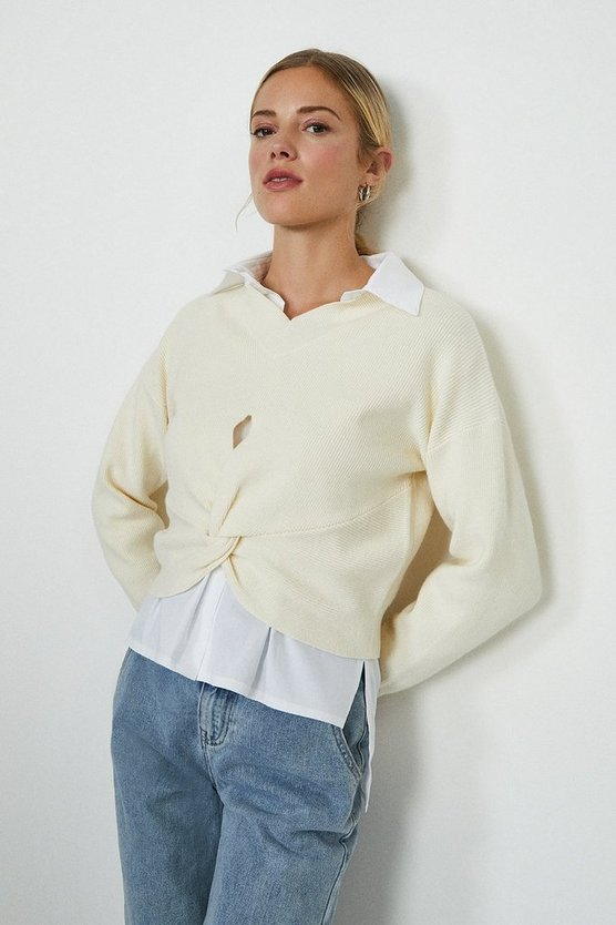 Ivory Twist Front Knitted Jumper