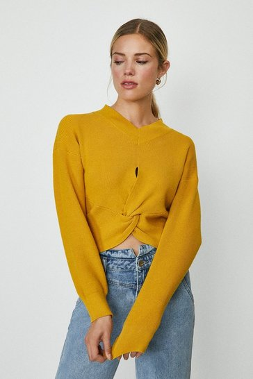 Mustard Twist Front Knitted Jumper