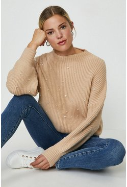 Oatmeal Pearl Embellished Knitted Jumper