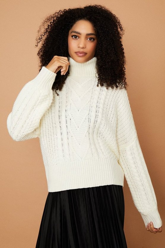 Ecru Chunky Roll Neck Knitted Jumper