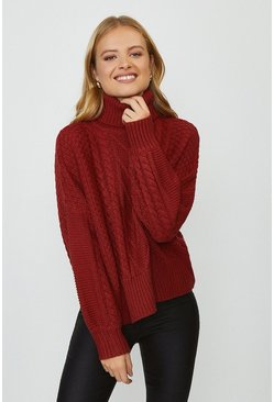 Rust Chunky Roll Neck Knitted Jumper