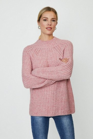 Blush Crew Neck Knitted Oversized Jumper